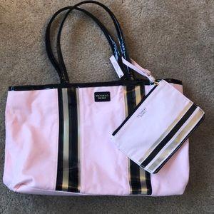 NWT Victoria's Secret Pink Tote w Makeup Bag Cute!